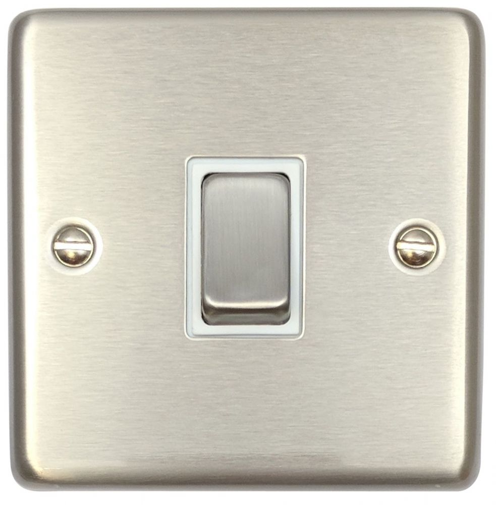 G&H CSS201 Standard Plate Brushed Steel 1 Gang 1 or 2 Way Rocker Light Switch